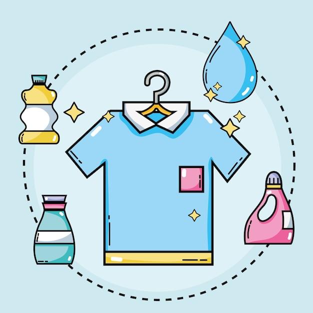 Définir l'équipement de blanchisserie pour nettoyer les vêtements Vecteur Premium