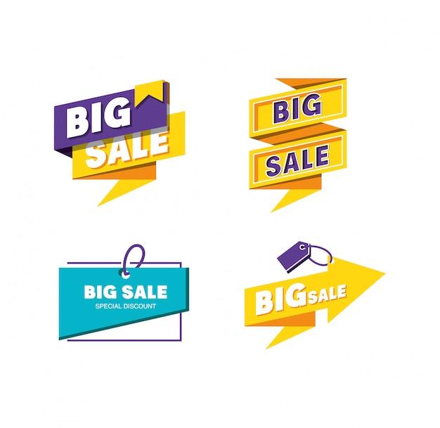 Définir des étiquettes de grande vente Vecteur Premium