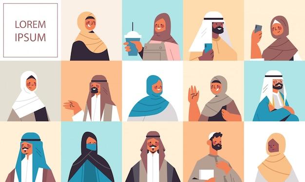 Définir Des Femmes Arabes Hommes En Vêtements Traditionnels Souriant Collection D'avatars De Personnes Arabes Mâle Femelle Personnages De Dessins Animés Portrait Illustration De L'espace De Copie Horizontale Vecteur Premium