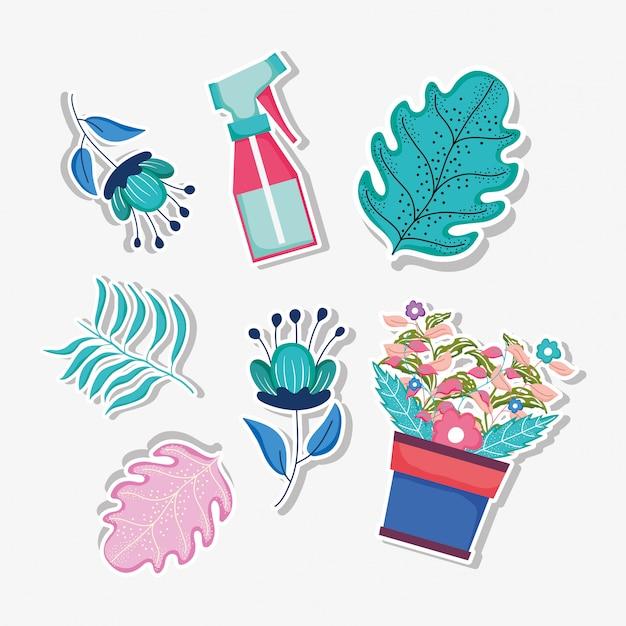 Définir les feuilles et les fleurs des plantes avec une bouteille d'arrosage Vecteur Premium