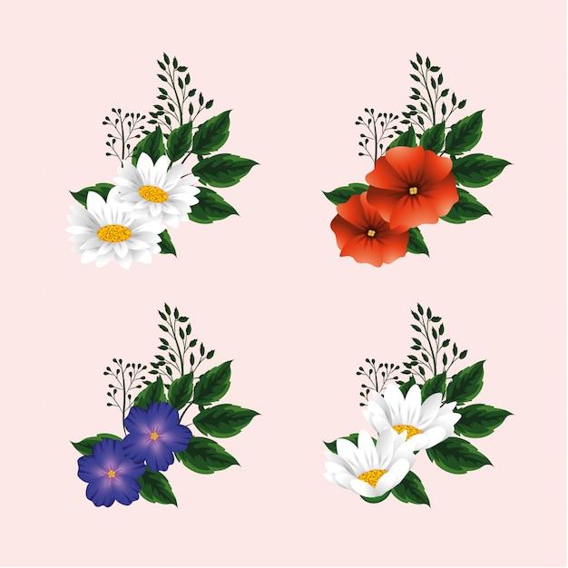 Définir Des Fleurs Exotiques Avec Des Plantes à Feuilles Vecteur Premium