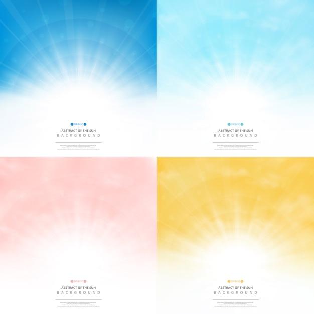 Définir le fond du soleil avec le ciel de fond de style de couleurs Vecteur Premium