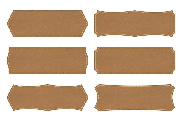 Définir des formes d'étiquettes en cuir ou une étiquette en cuir Vecteur Premium