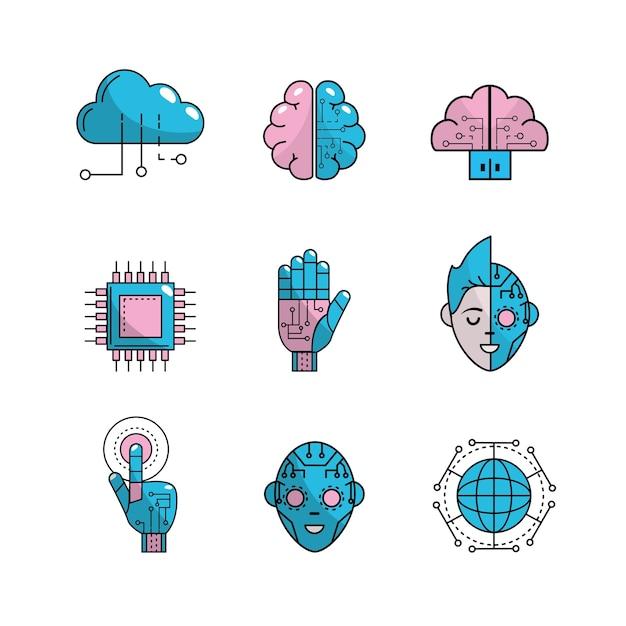 Définir la future technologie se connecter Vecteur Premium