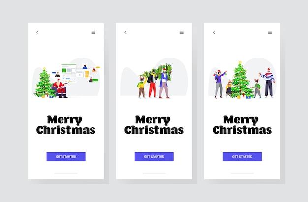 Définir Les Gens Qui Se Préparent Pour Les Vacances D'hiver Bonne Année Joyeux Noël Célébration Concept De Quarantaine Coronavirus écrans De Smartphone Collection Bannière Vecteur Premium
