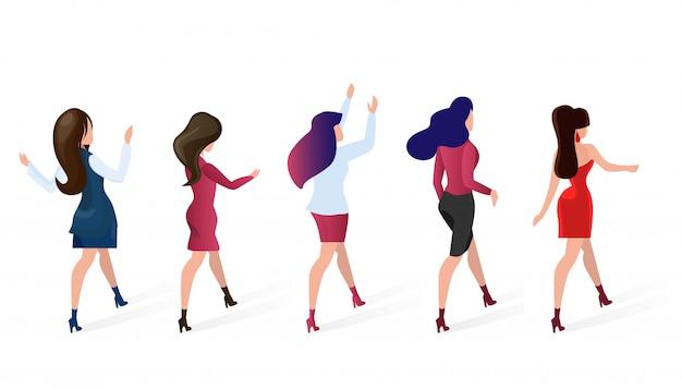 Définir le groupe femmes vont shopping vector illustration. Vecteur Premium