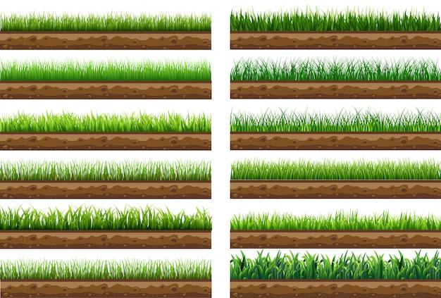 Définir L'herbe Verte Avec Illustration Vectorielle Isolé Vecteur Premium