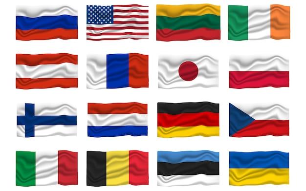 Définir l'icône du drapeau. drapeaux nationaux. illustration de vecteur de dessin animé Vecteur Premium