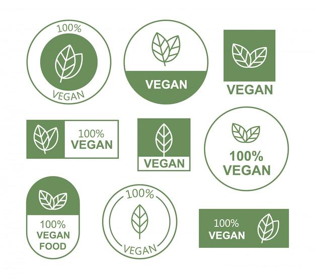 Définir Une Icône Plate Végétalienne Sur Fond Blanc. Bio, écologie, Logos Et Badges Biologiques. Vecteur Premium