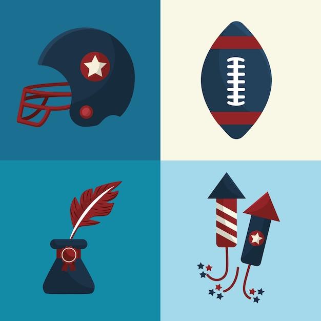 Définir des icônes d'éléments de la tradition américaine Vecteur Premium