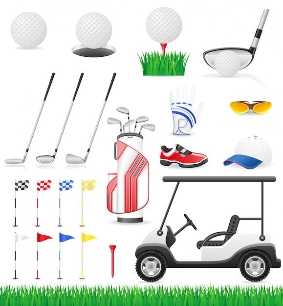 Définir des icônes de golf. Vecteur Premium