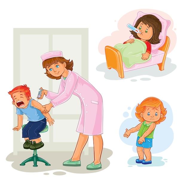 Définir des icônes petite fille malade Vecteur gratuit
