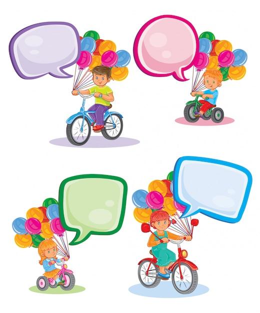 Définir des icônes de petits enfants sur les bicyclettes Vecteur gratuit