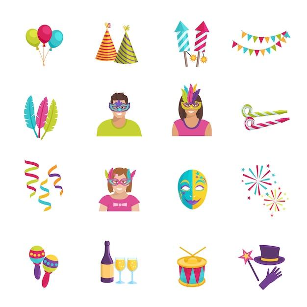 Définir les icônes plats couleur ot représentant des éléments de carnaval ballon masque feu d'artifice illustration vectorielle Vecteur Premium