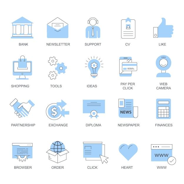 Définir des icônes vectorielles pour les concepts mobiles et les applications web Vecteur Premium