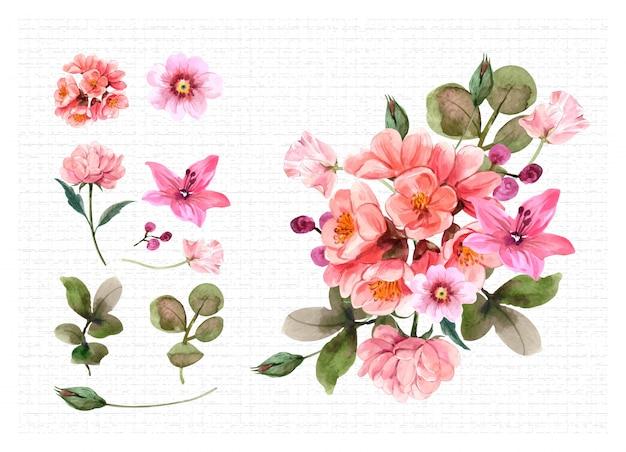 Définir L'illustration Du Bouquet Vecteur Premium