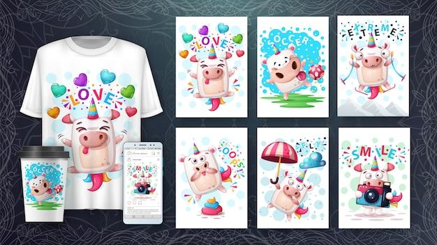 Définir l'illustration de la licorne et le merchandising Vecteur Premium