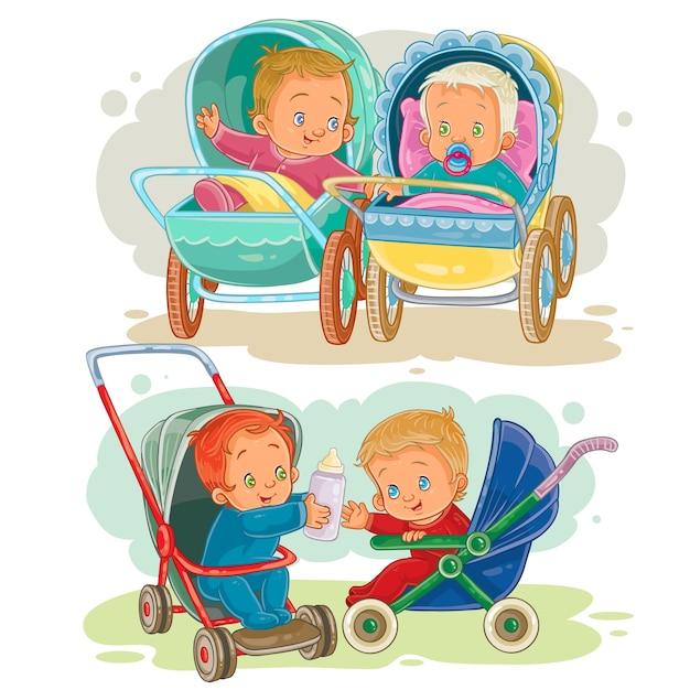 Définir des illustrations de petits enfants dans un chariot à bébé et une poussette Vecteur gratuit