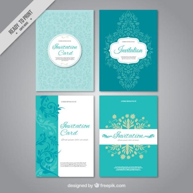 Définir des invitations de mariage Vecteur gratuit
