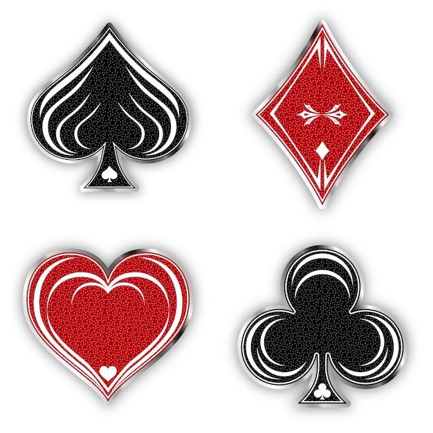 Définir le jeu de symboles de cartes Vecteur Premium