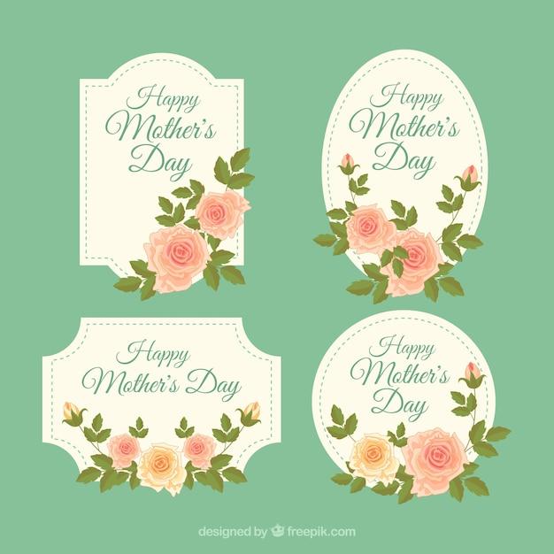Définir les étiquettes de la fête des mères avec des fleurs vintage Vecteur gratuit