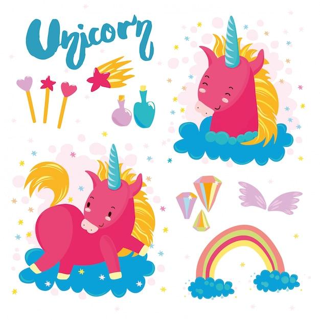 Définir la licorne mignonne Vecteur gratuit