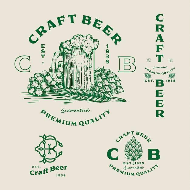 Définir le logo de la bière - illustration, conception de brasserie emblème. Vecteur Premium