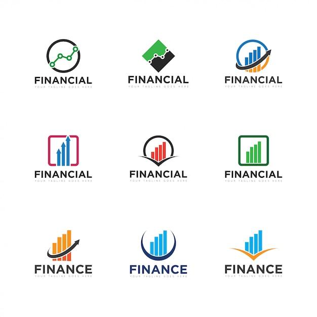 Définir logo finance et icône illustration vectorielle Vecteur Premium