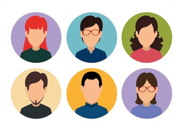 Définir Un Membre Du Profil De Média De Personnes Vecteur gratuit