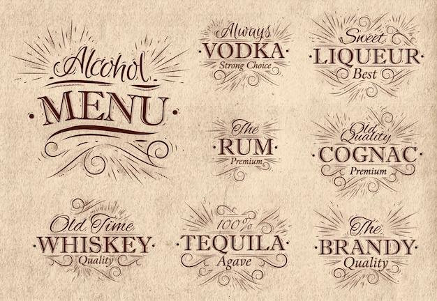 Définir le menu de l'alcool rétro Vecteur Premium
