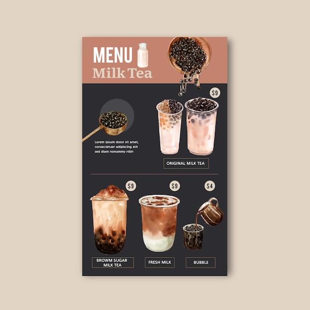 Définir le menu de thé de sucre brun bulle lait, contenu de l'annonce vintage, illustration aquarelle Vecteur gratuit