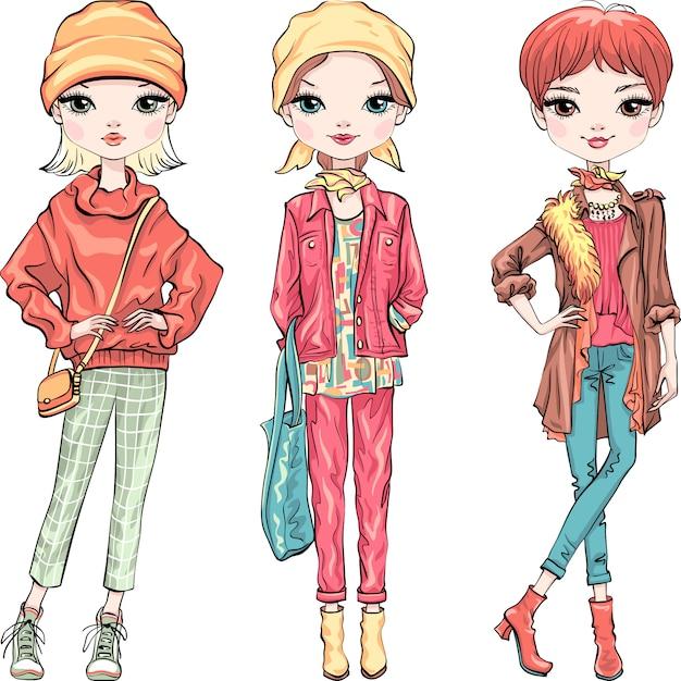 Définir La Mode Fille Dans Des Vêtements D'automne Vecteur Premium