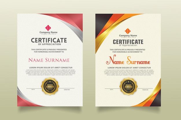 Définir Le Modèle De Certificat Vertical Avec Un Fond De Modèle Moderne De Luxe Et De Texture élégante. Vecteur Premium
