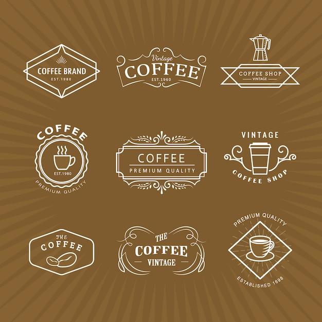 Définir Le Modèle Rétro De Tableau Noir étiquette Vintage Logo Café Vecteur Premium