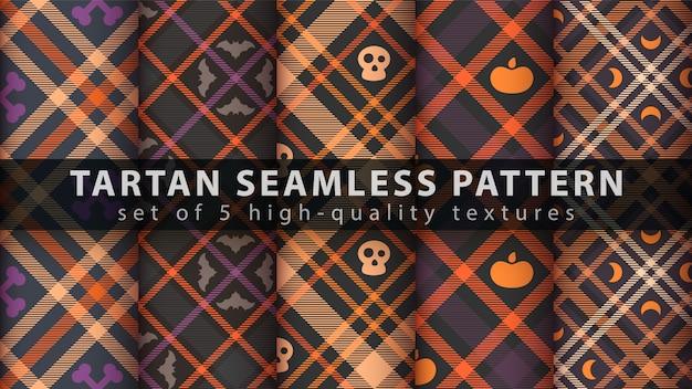 Définir le modèle sans couture de tartan halloween Vecteur Premium