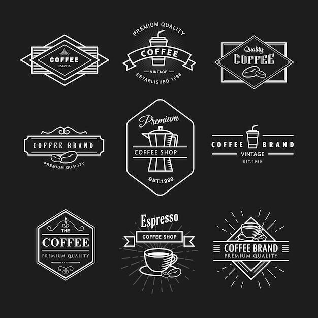 Définir Le Modèle De Tableau Noir étiquette Vintage Logo Café Vecteur Premium