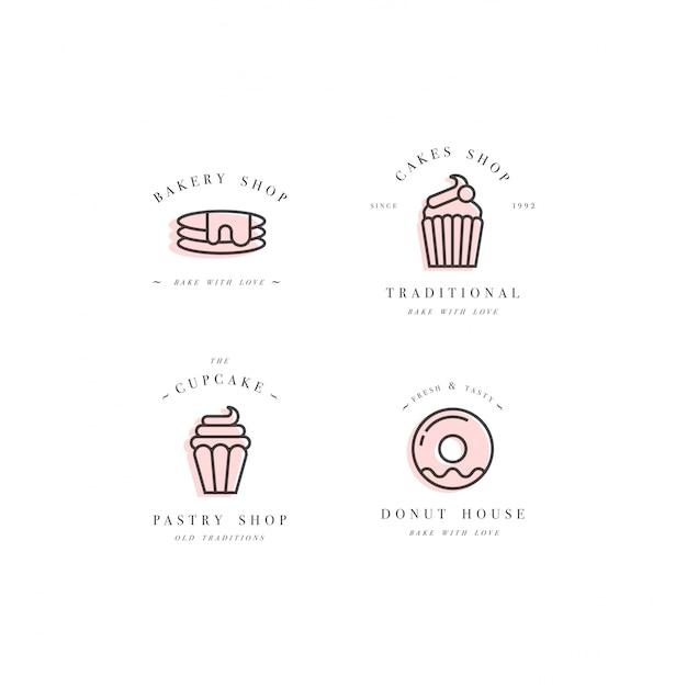 Définir Des Modèles De Conception Et Des Emblèmes - Icône De Cupcake, Beignet Et Cuire Pour Boulangerie. Confiserie. Vecteur Premium