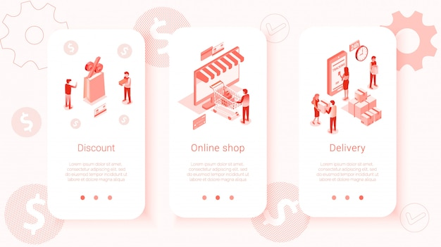 Définir des modèles isométriques d'interface utilisateur mobile shop Vecteur Premium