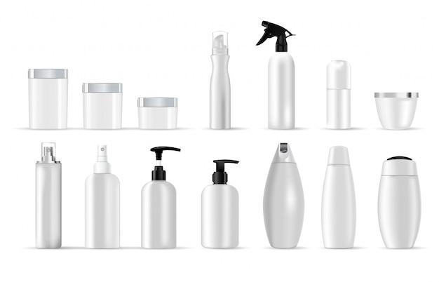 Définir des modèles vierges de contenants de plastique blancs Vecteur Premium