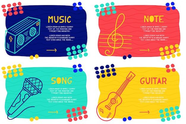 Définir la musique abstraite doodle Vecteur Premium