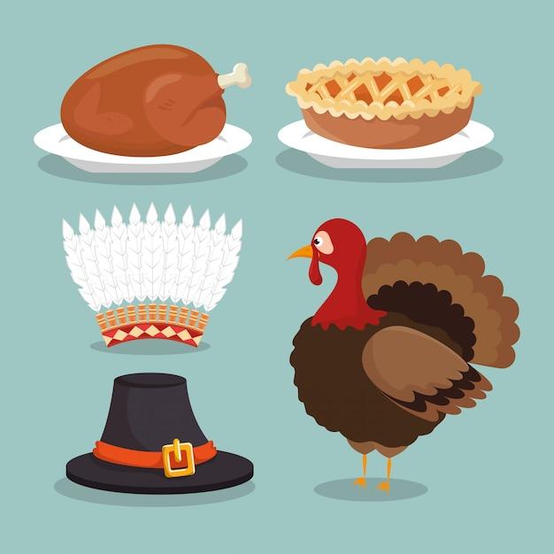 Définir la nourriture chapeaux concept thanksgiving Vecteur gratuit