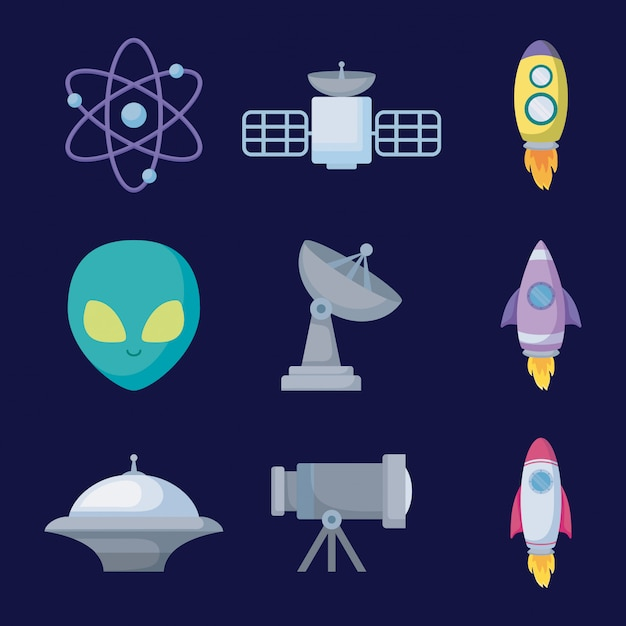 Définir les objets de l'icône de l'univers spatial Vecteur Premium