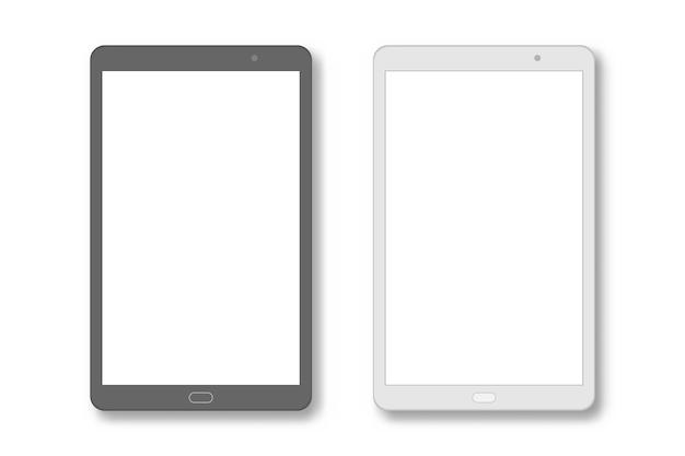 Définir ordinateur tablette pc avec écran blanc Vecteur Premium