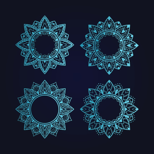 Définir L'ornement D'art Mandala Vecteur Premium