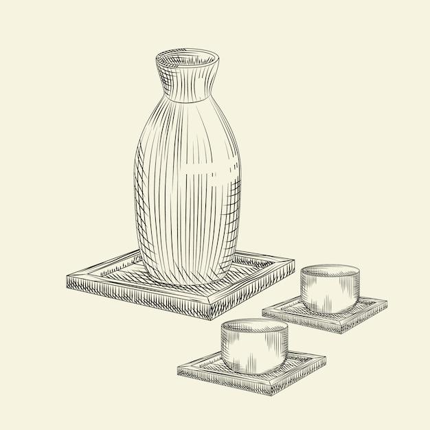 Définir Os Saké Japonais Et Tasse Isolé. Croquis Dessiné De Main De Saké De Bouteille En Céramique. Vecteur Premium