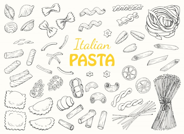 Définir les pâtes italiennes sur un fond blanc Vecteur Premium