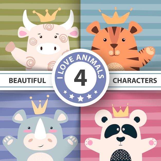 Définir des personnages de dessin animé - taureau, panda, tigre, rhinocéros Vecteur Premium