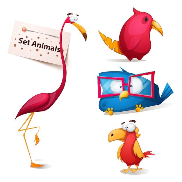 Définir des personnages de dessins animés drôles Vecteur Premium