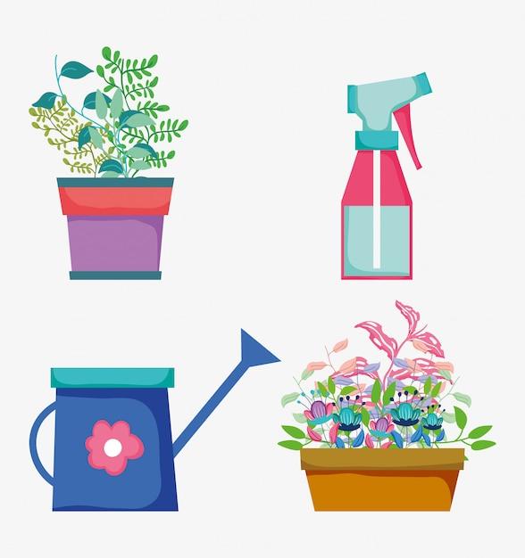 Définir des plantes à fleurs avec des feuilles et une bouteille d'eau Vecteur Premium