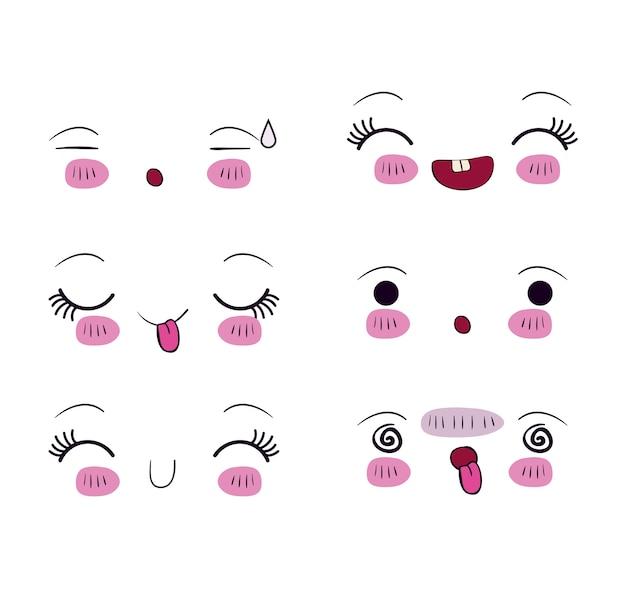 Définir Pour Différentes Expressions Faciales Kawaii Vecteur Premium